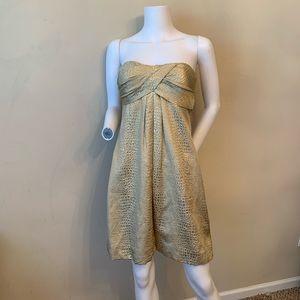 Cache Dress Gold Strapless Sweetheart Snake Print